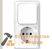 Блок Универсал Олимп О0038, о/у, выключатель одноклав 10А + розетка с/з 16A, 220В, вертикал