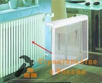 Экран на радиатор ЭРА, 4 секц, метал, декор, 390х610х150мм
