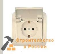 Розетка Универсал Валери, В0029 16А, 220В, одинарная, бел., с заземл., внутр., с крышкой
