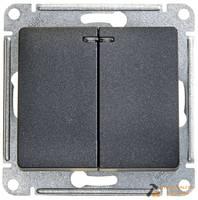 Выключатель GLOSSA 2кл, с подсветкой, 10АХ, механизм, АНТРАЦИТ